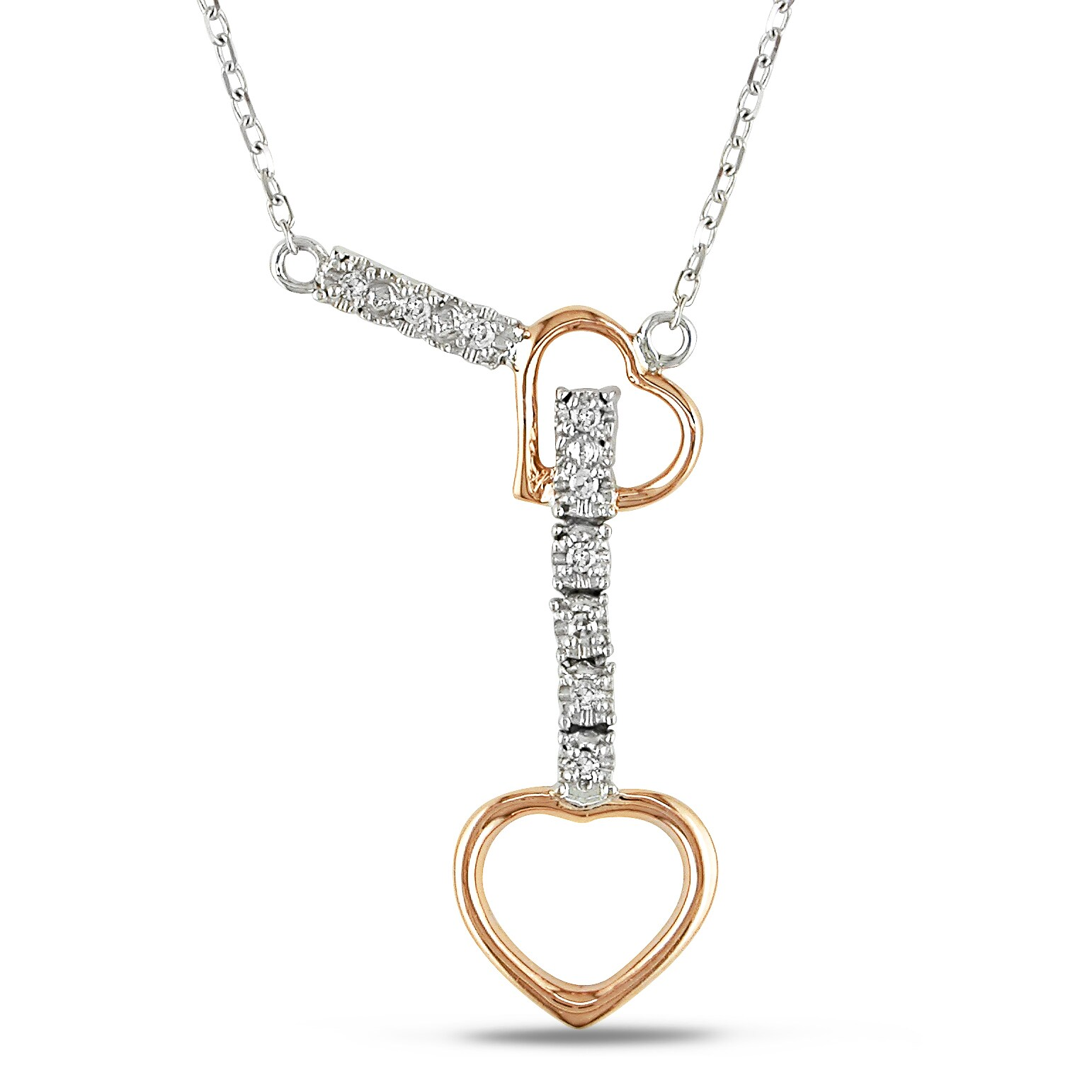 Miadora 14k Two-tone Gold Diamond Accent Heart Necklace
