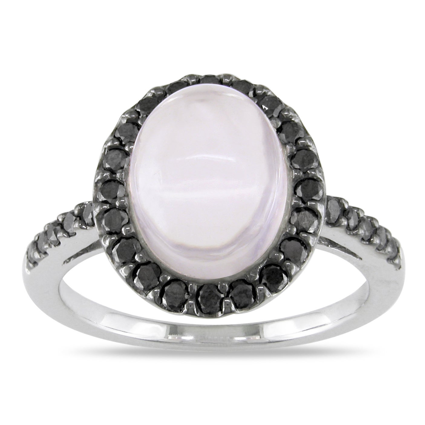 Miadora 14k White Gold Rose Quartz and 3/8ct TDW Black Diamond Ring