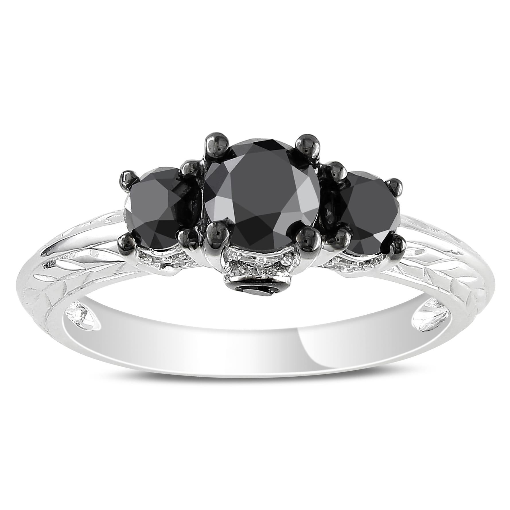Miadora 14k Gold 1 1/2ct TDW Black and White Diamond 3-Stone Plus Classic Engagement Ring (G-H, I1-I2)