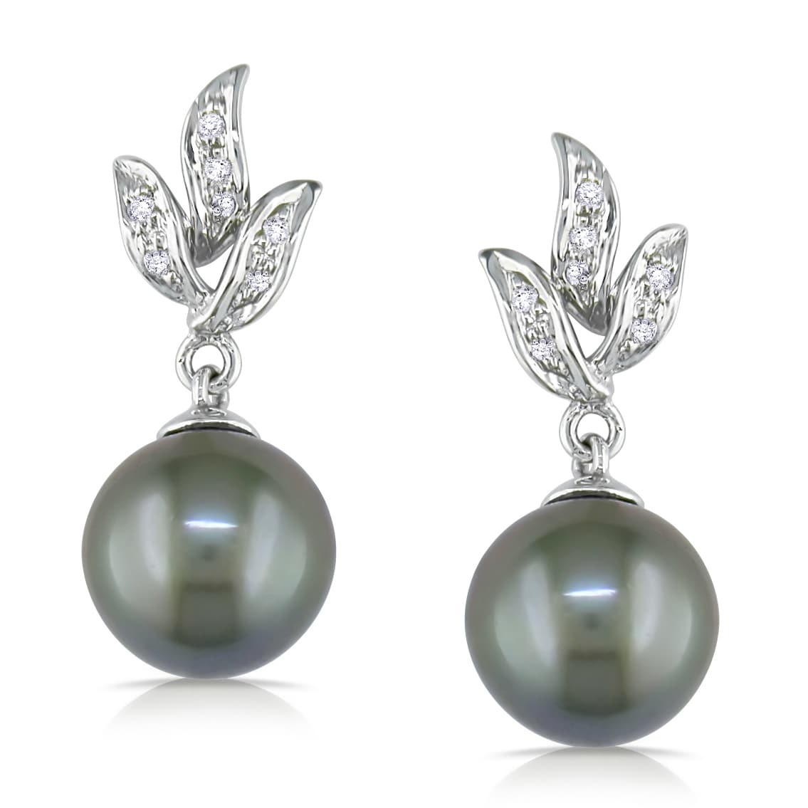 Miadora 10k Gold Tahitian Pearl and 1/10ct TDW Diamond Earrings (H-I, I2-I3)
