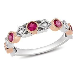Miadora 14k Gold Pink Sapphire and 1/10ct TDW Ring (G-H, SI1-SI2)