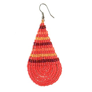 Hibiscus Large Teardrop Beadwork Earrings (South Africa)