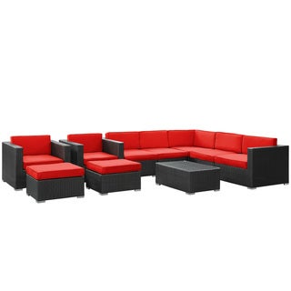 Avia Outdoor Wicker Patio 10-piece Sectional Sofa Set in Espresso with Red Cushions