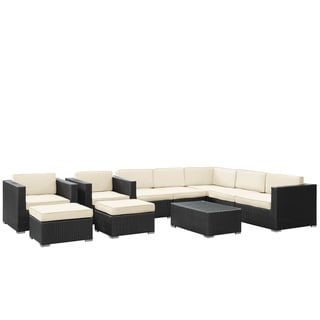Avia Outdoor Wicker Patio 10-piece Sectional Sofa Set in Espresso with White Cushions