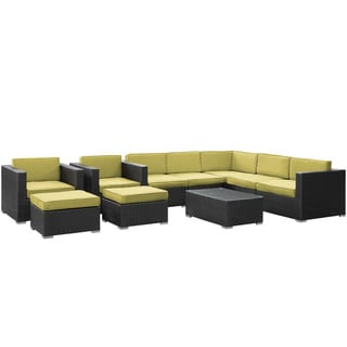 Avia Outdoor Wicker Patio 10-piece Sectional Sofa Set in Espresso with Peridot Cushions