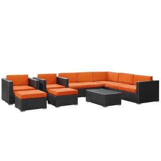 Avia Outdoor Wicker Patio 10-piece Sectional Sofa Set in Espresso with Orange Cushions