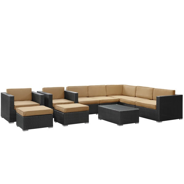 Aero Outdoor Wicker Patio 10-piece Sectional Sofa Set in Espresso with Mocha Cushions