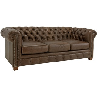 Hancock Tufted Distressed Brown Italian Leather Sofa