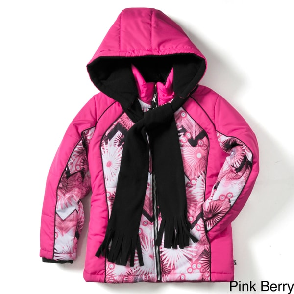 Rothschild Girl's Printed Detachable Hood Jacket with Scarf
