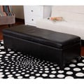 Warehouse of Tiffany Sharon Faux Leather Storage Bench in Black