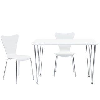 Simplicity White Dining Table and Chair Set