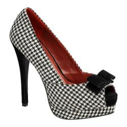 Women's Pin Up Bella 11 Houndstooth Fabric/Black