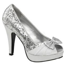 Pin Up Women's Bettie 10 Silver Glitter/Satin