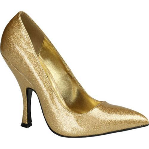 Women's Pin Up Bombshell Gold Pearlized Glitter Patent Leather