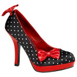 Women's Pin Up Secret Black Satin Polka Dot/Red Patent Leather
