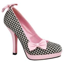 Women's Pin Up Secret Houndstooth Fabric/Baby Pink Patent Leather