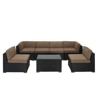 Aero Outdoor Wicker Patio 7-piece Sectional Sofa Set in Espresso with Mocha Cushions