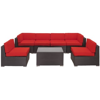 Aero Outdoor Wicker Patio 7-piece Sectional Sofa Set in Espresso with Red Cushions