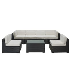 Aero Outdoor Wicker Patio 7-piece Sectional Sofa Set in Espresso with White Cushions