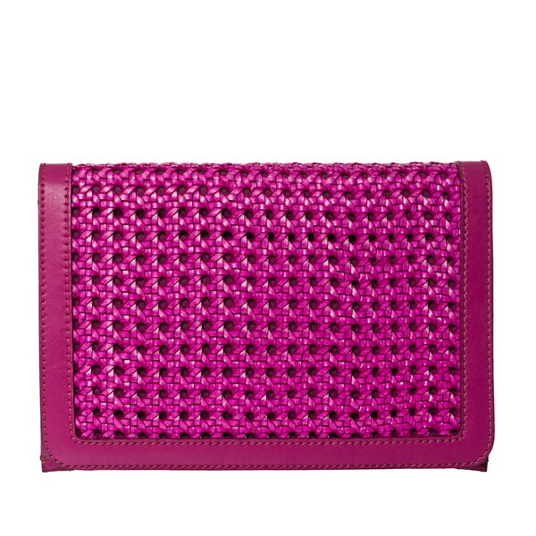 Stella McCartney Magenta Woven Faux Leather Cross-body Bag