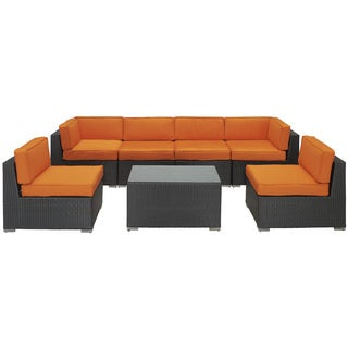 Aero Outdoor Wicker Patio 7-piece Sectional Sofa Set in Espresso with Orange Cushions