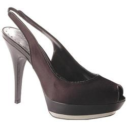 BCBGirls Women's Catilyn Black Satin/Patent