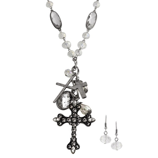 Journee Collection Silvertone Rhinestone Cross Jewelry Set