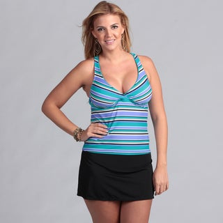 South Point Women's Plus Island Stripe Skirted Bottom Tankini