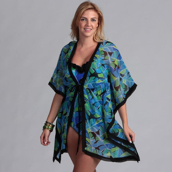 Swim by Chuck Handy Women's Plus 1-piece Swimsuit Kimono