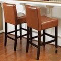 Christopher Knight Home Lopez Hazlenut Leather Counterstools (Set of 2)