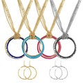 Journee Collection Metal and Enamel Circle Jewelry Set