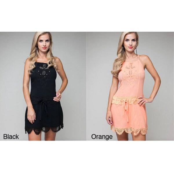 Stanzino Women's Scalloped Hem Embellished Dress