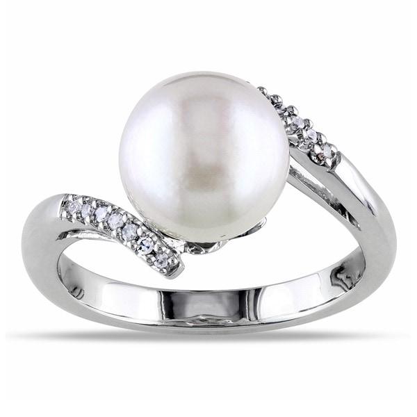 Miadora 14k White Gold South Sea Pearl and Diamond Accent Ring (9-9.5 mm)