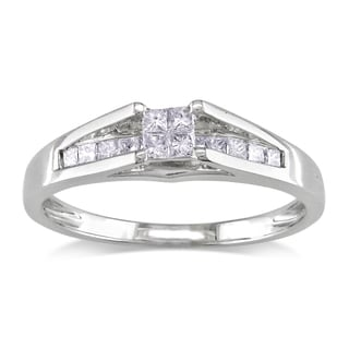 Miadora 14k White Gold 1/3ct TDW Princess Diamond Ring (G-H, I1-2) with Bonus Earrings