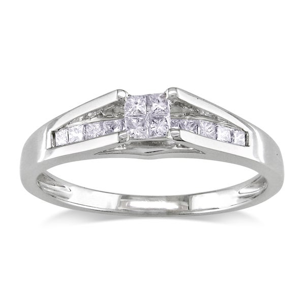 Miadora 14k White Gold 1/3ct TDW Princess Diamond Ring (G-H, I1-2)