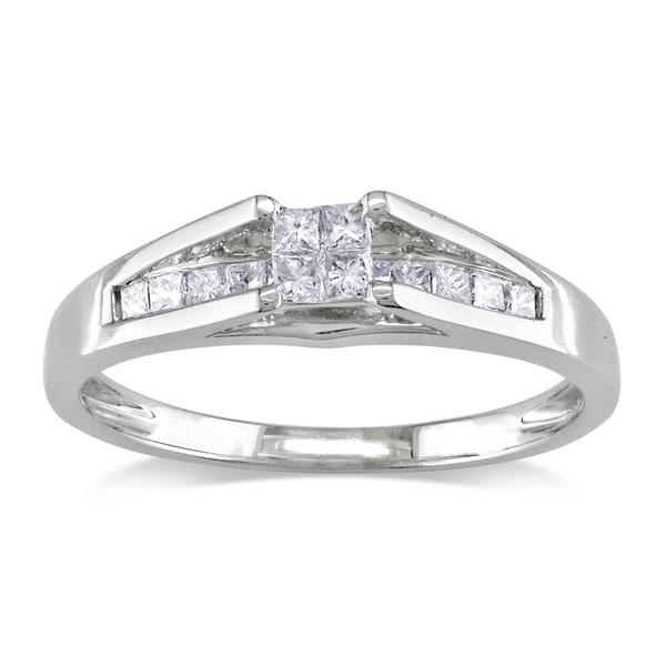 Miadora 14k White Gold 1/3ct TDW Princess Diamond Ring (G-H, I1-2)