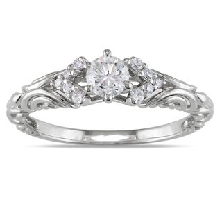 Miadora 14k White Gold 3/8ct TDW Diamond Ring (G-H, I1-I2)