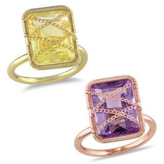 Miadora Yellow or Rose Rhodium-plated Silver Gemstone Ring with Bonus Earrings
