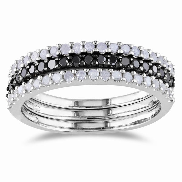 Sterling Silver 5/8ct TDW Black and White Diamond Ring Set (H-I I2-I3)