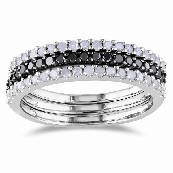 Miadora Sterling Silver 5/8ct TDW Black and White Diamond Ring Set (H-I I2-I3)