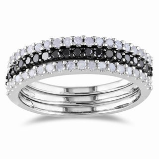 Miadora Sterling Silver 5/8ct TDW Black and White Diamond Ring Set (H-I, I2-I3)
