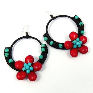 Earthy Florals Cotton Rope Hoop Earrings (Thailand)