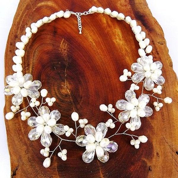Floral Garden Freshwater Pearl Statement Necklace (Thailand)