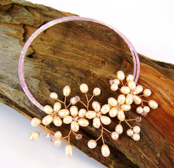 Mini Floral Garland Freshwater Pearls Wrap Necklace (Thailand)