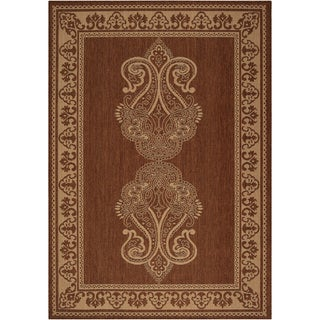 Rathbun Dark Khaki Border Indoor/Outdoor Rug (7'6 x 10'9)