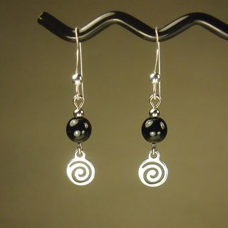 Black With Silver Swirl Drop Earrings
