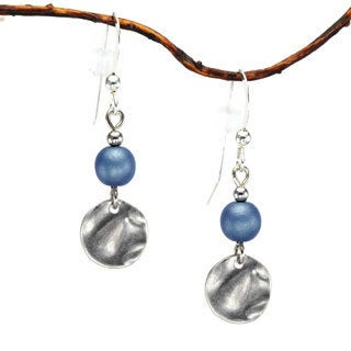 Blue With Small Pewter Hammered Drop Earrings
