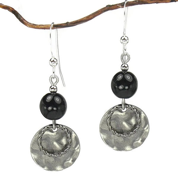 Jewelry by Dawn Black With Hammered Double Drop Earrings