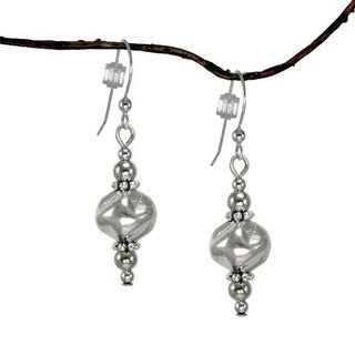 Jewelry by Dawn Silver Glass-nugget/Pewter-spacer Bead Dangle Earrings