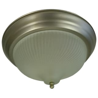 Frosted Prismatic Swirl 1-light Satin Nickel Flush Mount